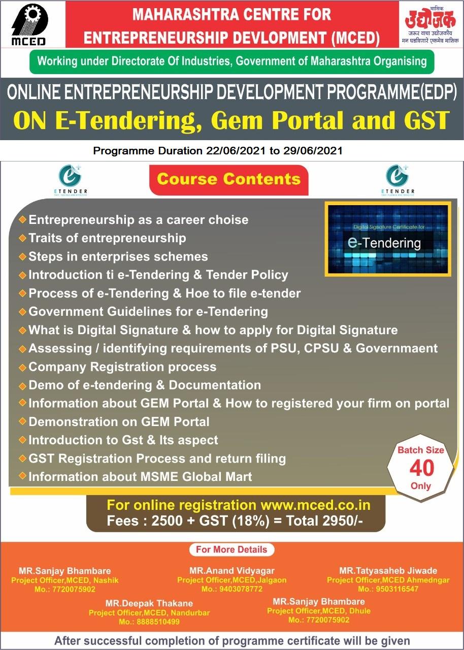 Online - E-Tendering, Gem portal & GST Training Programme