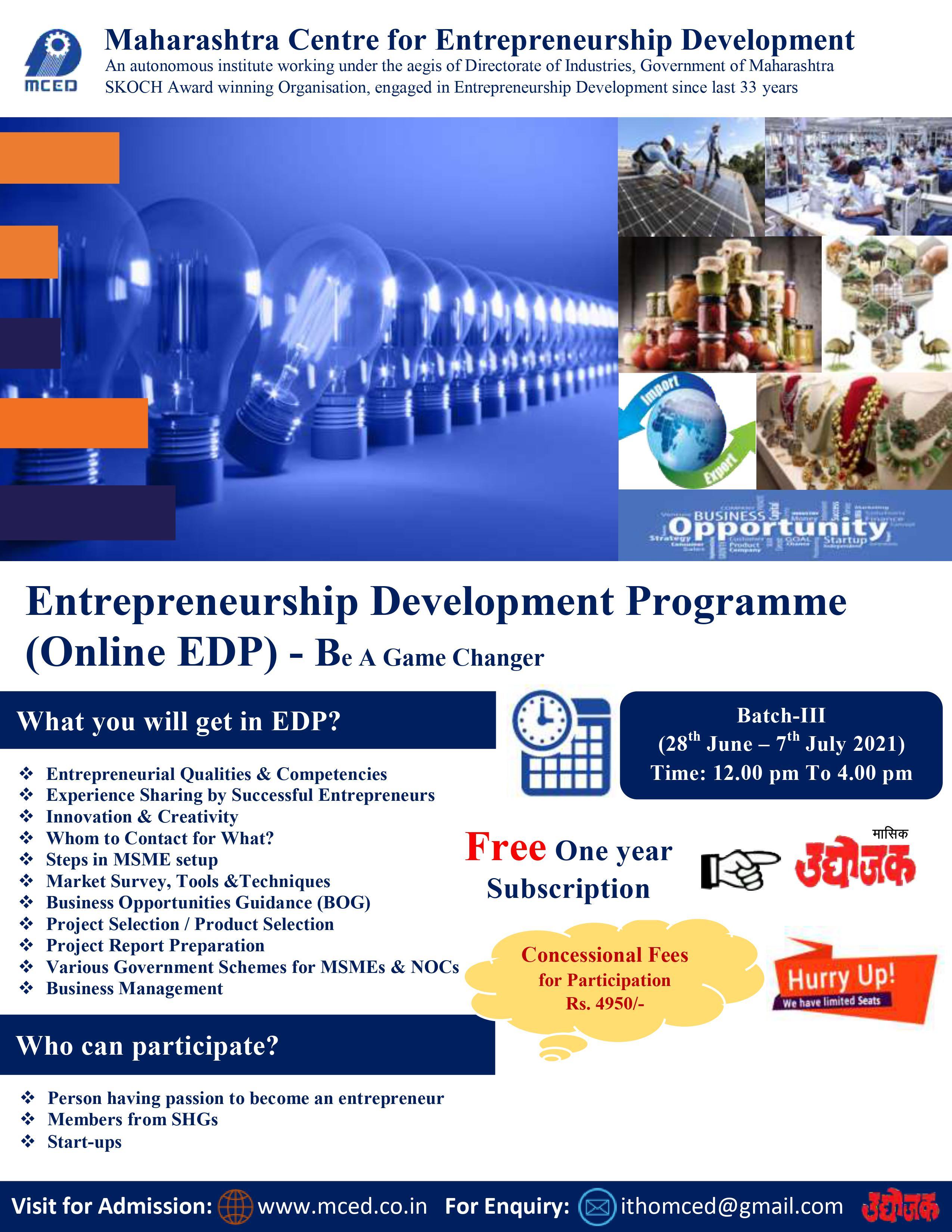 Entrepreneurship Development Programme (Online EDP)