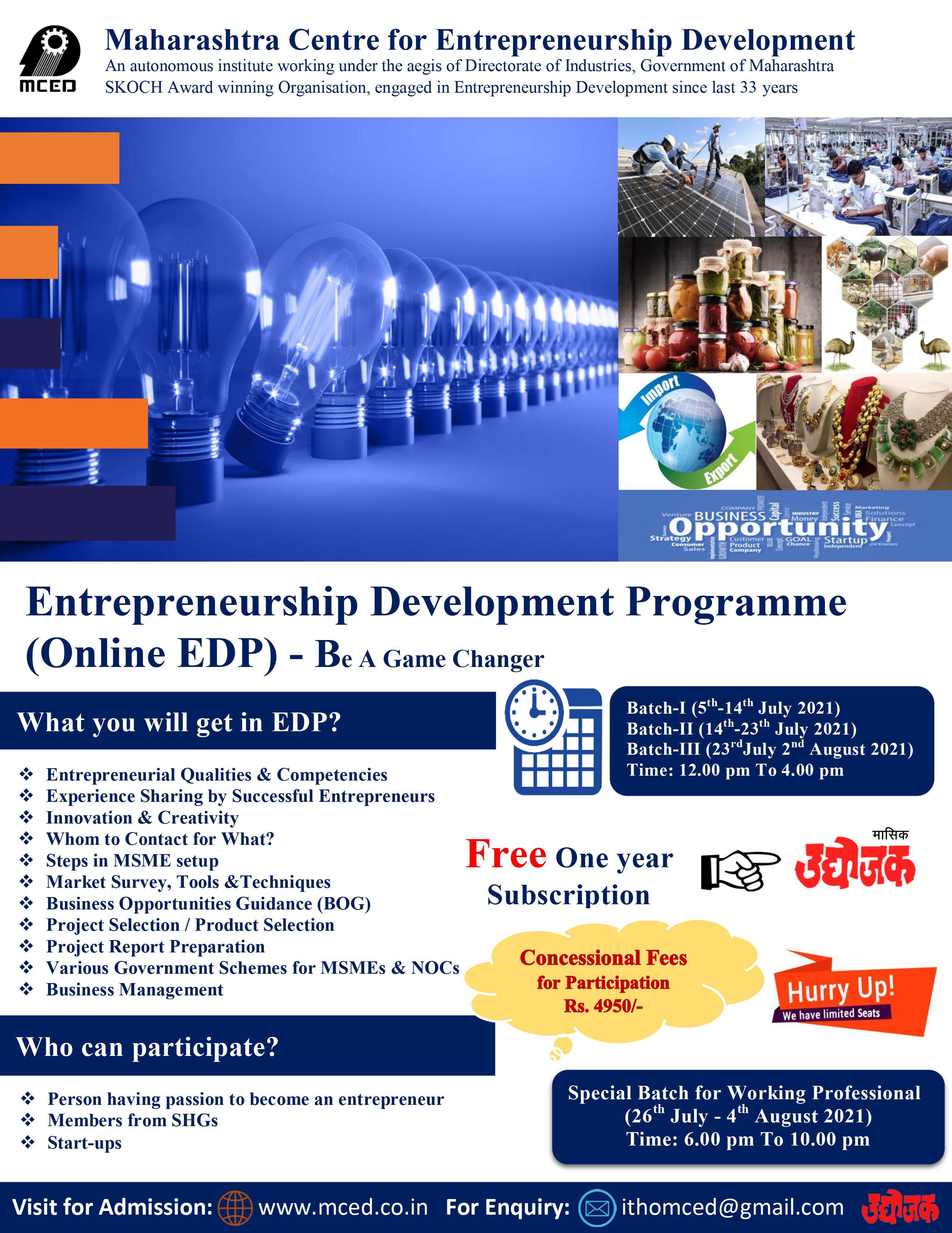 Entrepreneurship Development Programme (Online EDP) - Special EDP for Working Professionals