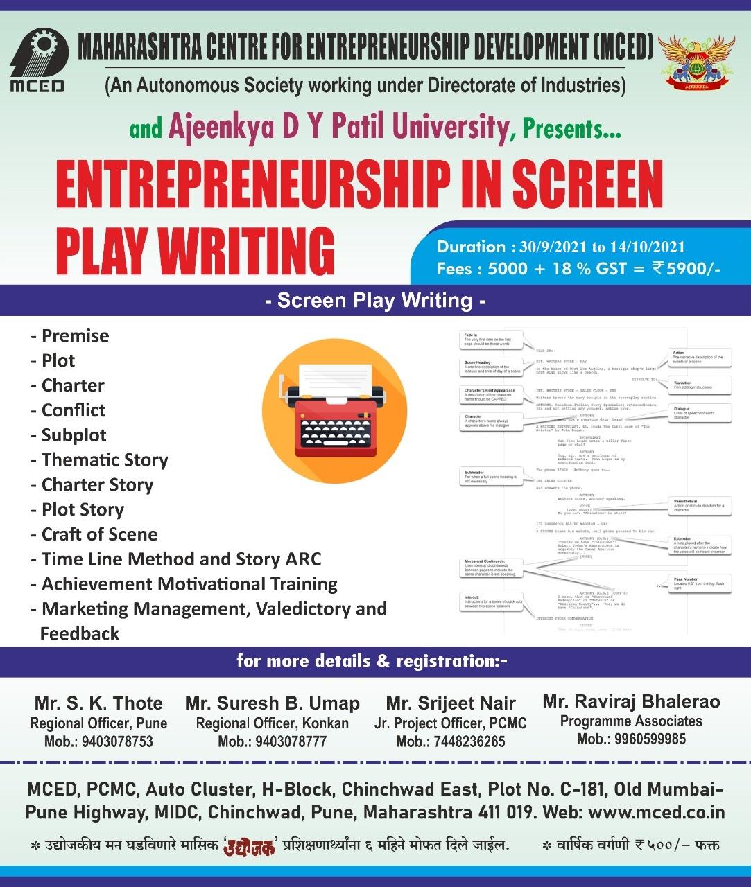 Entrepreneurship  in Screen Play Writing